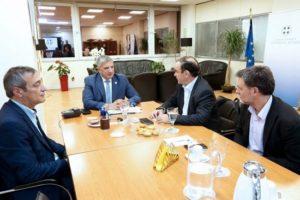 Συνάντηση του Περιφερειάρχη Αττικής Γ. Πατούλη με τον Πρόεδρο του Ελληνικού Οργανισμού Ανακύκλωσης (ΕΟΑΝ) Ν. Χιωτάκη και το Διευθύνων Σύμβουλο Γ. Σιδέρη