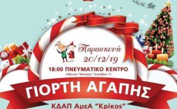 """Την Παρασκευή 20/12 και ώρα:18:00 στην Αίθουσα «Μουσών» Πνευματικό Κέντρο Δήμου Βριλησσίων Κισσάβου 11 θα πραγματοποιηθεί η Χριστουγεννιάτικη Γιορτή του ΚΔΑΠ-ΑμεΑ """"ΚΡΙΚΟΣ"""" OKΠΑΔ ΒΡΙΛΗΣΣΙΩΝ"""