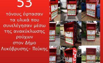 Λυκόβρυση - Πεύκη: Τους 53 τόνους έφτασαν τα υλικά που συνελέγησαν μέσω της ανακύκλωσης ρούχων στον Δήμο