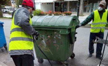 """Λυκόβρυση Πεύκη:Πλένονται και απολυμαίνονται οι κάδοι αποκομιδής απορριμμάτων"""""""
