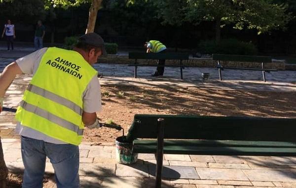 Αθήνα : Εργασίες αποκατάστασης και καθαριότητα στην πλατεία Ολοκαυτώματος Καλαβρύτων στο Νέο Κόσμο