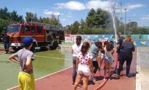 """Διόνυσος : Ο Σύλλογος Εθελοντών Πολιτικής Προστασίας Αγ. Στεφάνου στο """"Summer Camp στο 2ο Δημοτικό Σχολείο Αγίου Στεφάνου"""