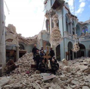 Σάμος : Ιερός ναός της Παναγιάς στο Καρλόβασι της Σάμου μετά από τις καταστροφές που υπέστη ο ναός από τον σεισμό