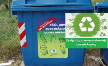 πιλοτικά πρόγραμμα ανταποδοτικής ανακύκλωσης