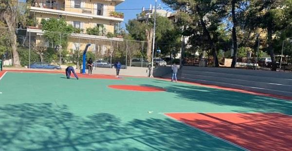 Εργασίες ανακατασκευής ανοιχτού γηπέδου καλαθοσφαίρισης Σωκράτους και Σάμου