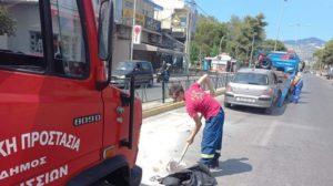 Βριλήσσια: Αυτοκίνητο προσέκρουσε από άγνωστη αιτία στην νησίδα του δρόμου στην Λ Πεντέλης
