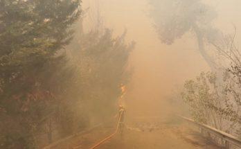Μάχη με τις φλόγες δίνουν Πυροσβέστες με εναέρια και επίγεια μέσα , η Πολιτική Προστασία του Δήμου, ο ΣΠΑΠ και πολύ εθελοντές για να σβήσει η μεγάλη φωτιά