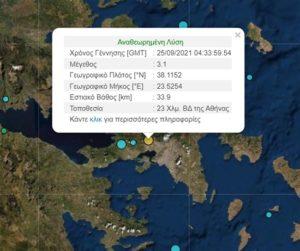 Σεισμός με ένταση 3,1 βαθμών της Κλίμακας Ρίχτερ στην Αθήνα